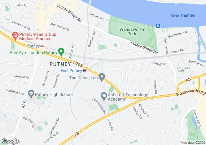 Map for Oakhill Court, Putney, SW15