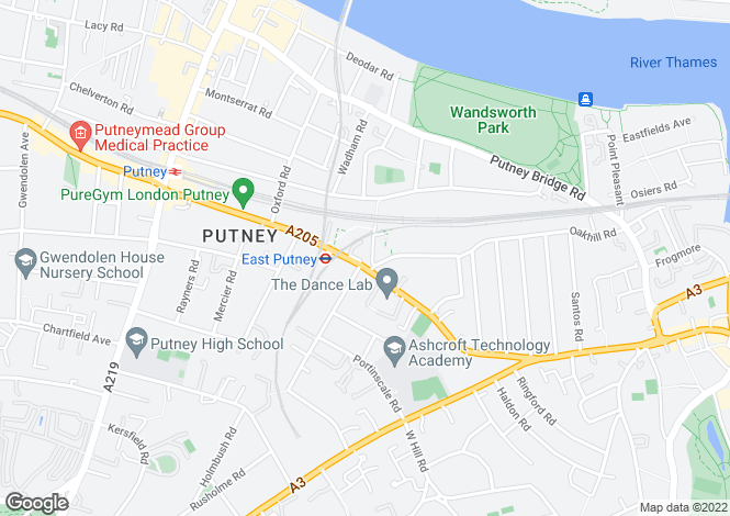 Map for Upper Richmond Road, Putney, SW15