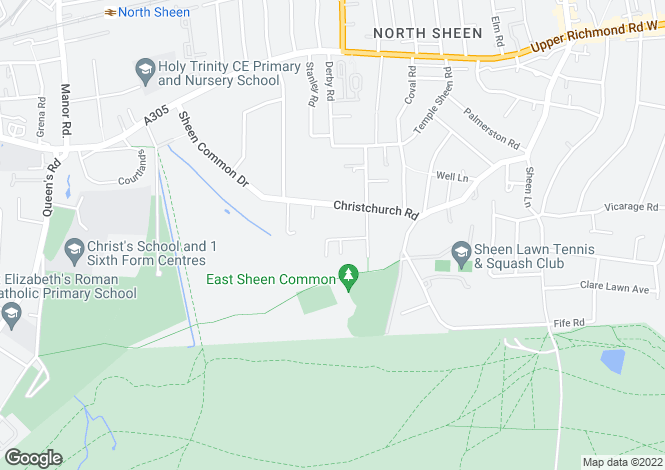 Map for Monroe Drive, East Sheen, Richmond