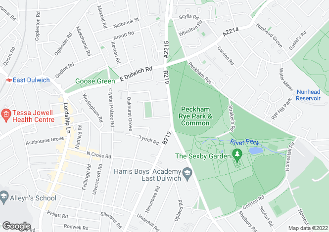Map for Peckham Rye, East Dulwich