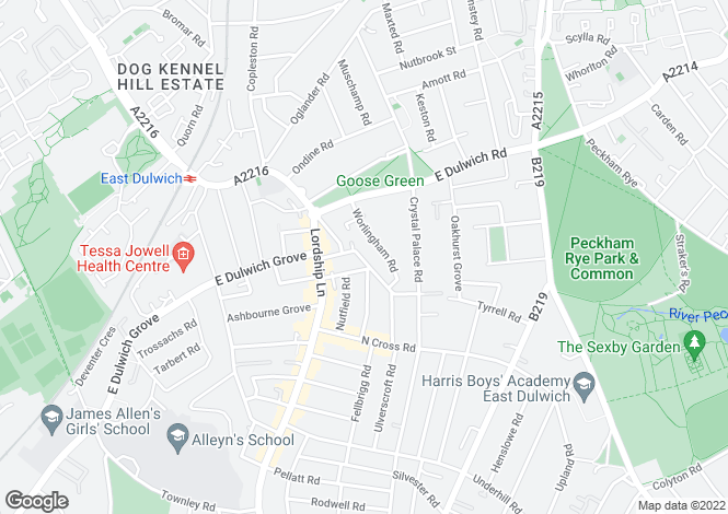 Map for Crawthew Grove, East Dulwich