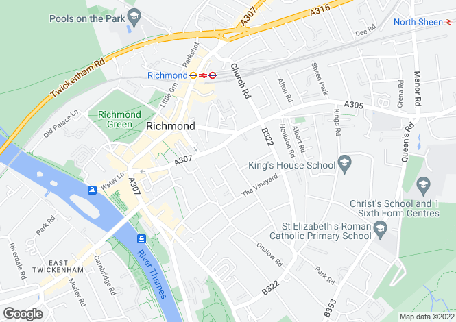 Map for Mount Ararat Road, Richmond, Surrey, TW10