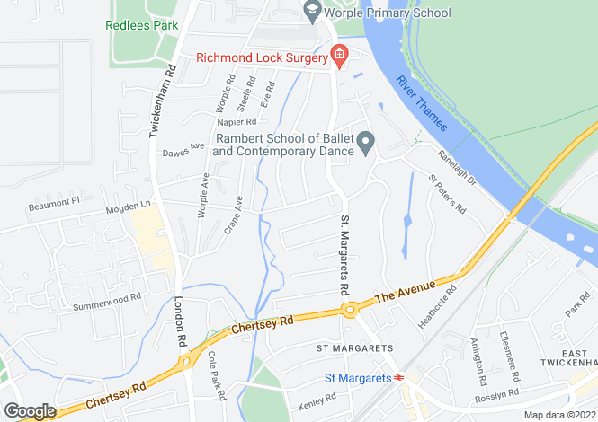 Map for Northcote Road, St Margarets, Twickenham, TW1