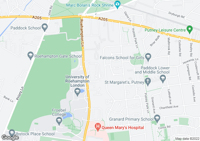 Map for Aubyn Square, Roehampton