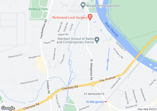 Map for Northcote Road, St Margarets, Middlesex