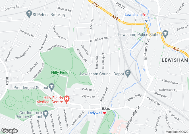 Map for Ermine Road, Lewisham, London