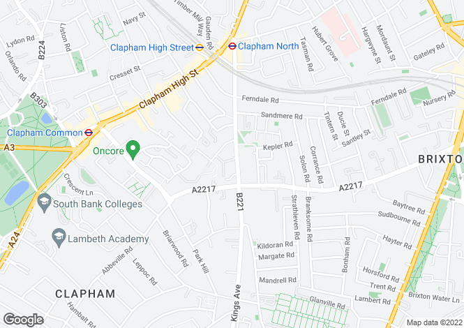 Map for Bedford Road  Clapham North
