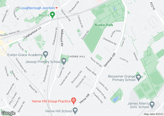 Map for 32 Ferndene Road, Herne Hill, Herne Hill, SE24