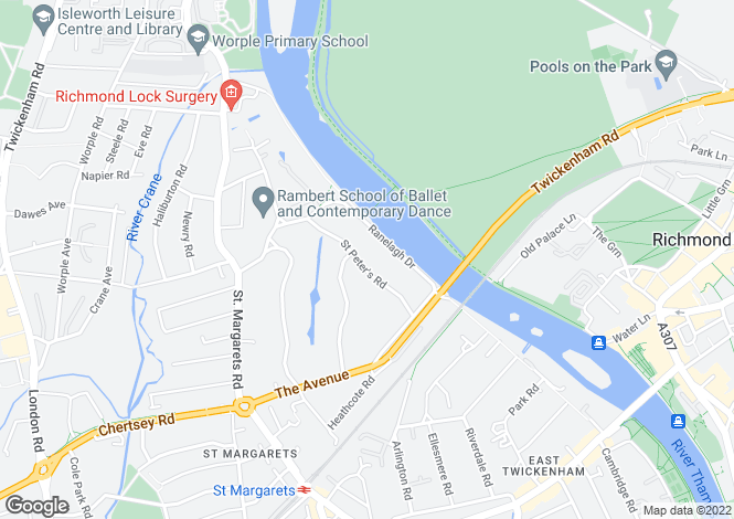 Map for St. Peters Road, St Margarets, Twickenham, TW1