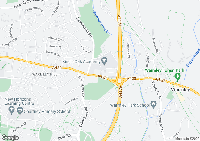 Map for Kyght Close, Warmley, Bristol