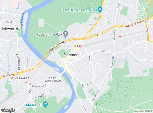 Map for Gascoigne-Pees, Richmond, Surrey