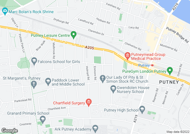 Map for Howards Lane, Putney, London, SW15