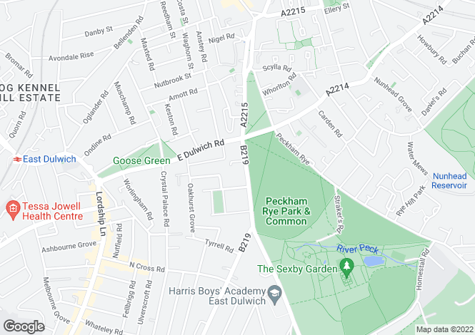 Map for Peckham Rye  London