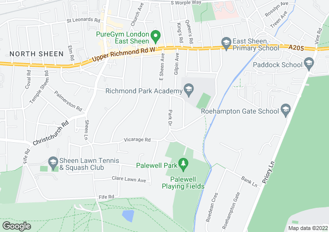 Map for Park Lodge, Park Drive, East Sheen, London SW14 8RB