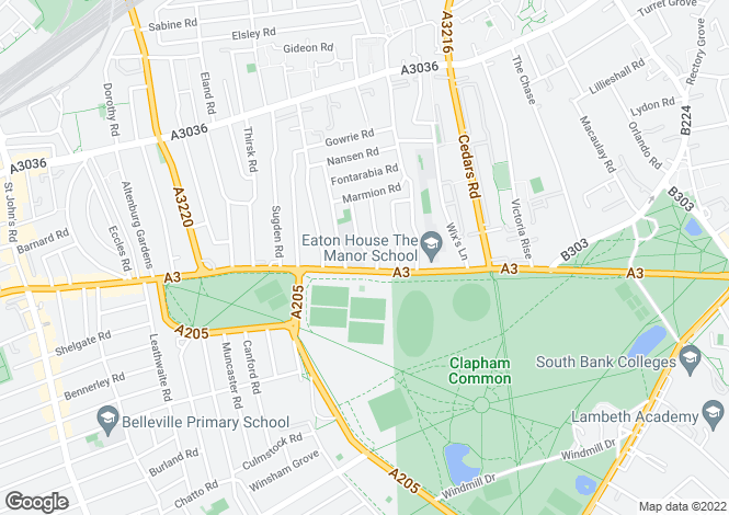 Map for Clapham Common Northside, London, SW4 9SD