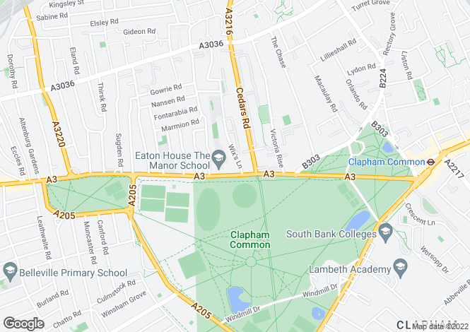 Map for Clapham Common North Side, London, SW4