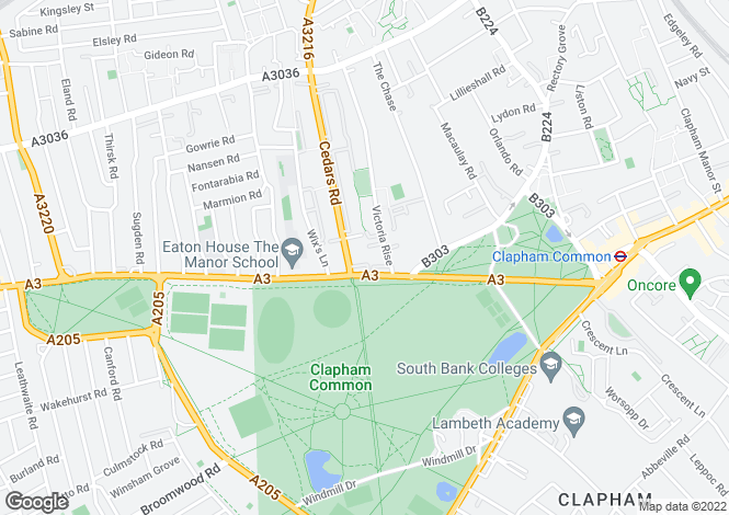 Map for Clapham Common North Side, Clapham, London