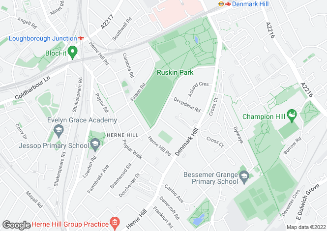 Map for Ferndene Road, Herne Hill
