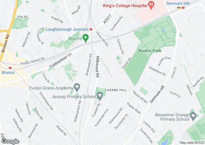 Map for Poplar Road, Herne Hill, SE24