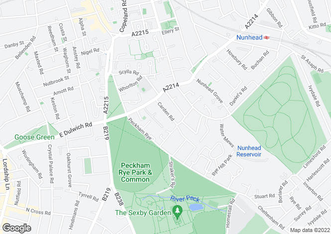 Map for Carden Road, Peckham Rye, SE15