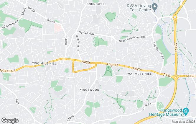 Map for Oak Estate Agents, Kingswood