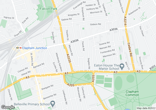 Map for Sisters Avenue, Clapham Junction, London SW11
