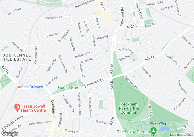 Map for Fenwick Road, London, SE15