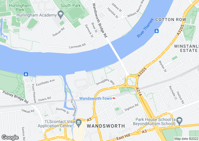 Map for RIVERSIDE WEST, SMUGGLERS WAY, SW18