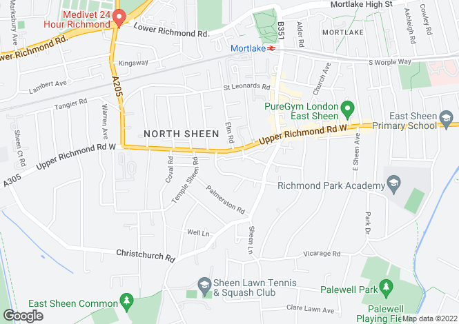Map for Colston Road, East Sheen, London, SW14