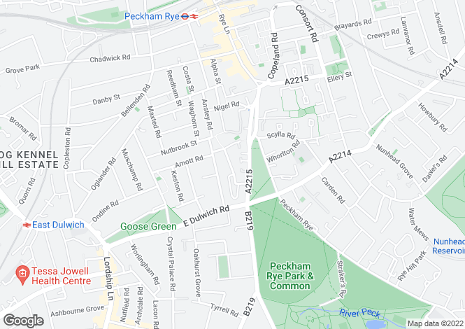 Map for Kinsale Road, Peckham Rye