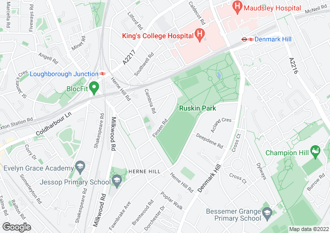 Map for Finsen Road, Camberwell, , SE5 9AX