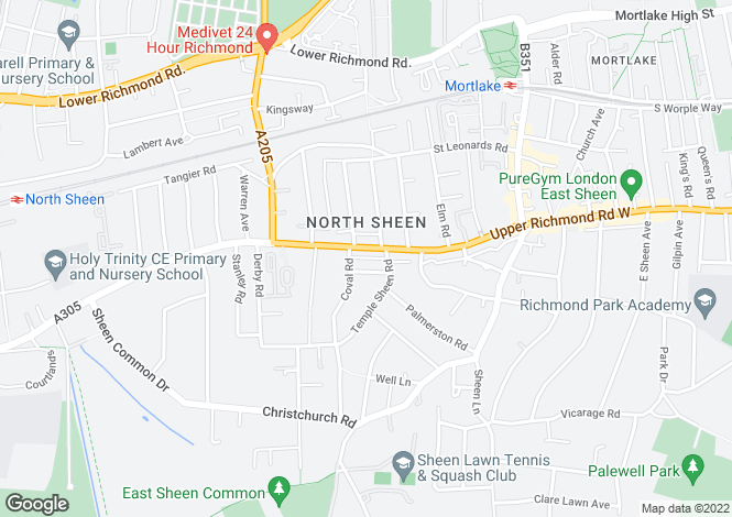 Map for Upper Richmond Road West, East Sheen, SW14