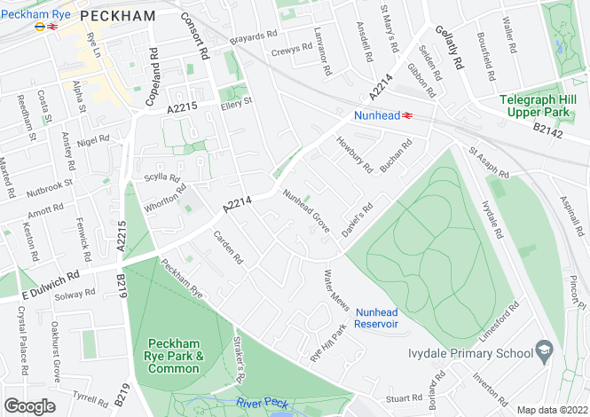 Map for Nunhead Grove, Nunhead