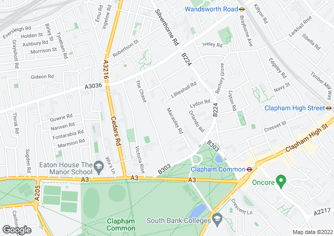 Map for Macaulay Road, Clapham, London, SW4