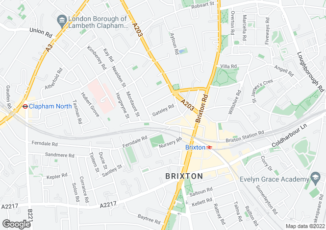 Map for Gateley Road, Brixton, SW9