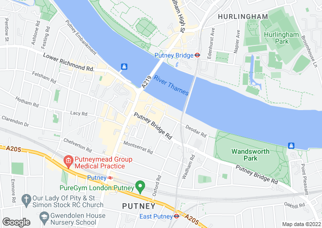 Map for Putney Wharf Terrace, Deodar Road SW15