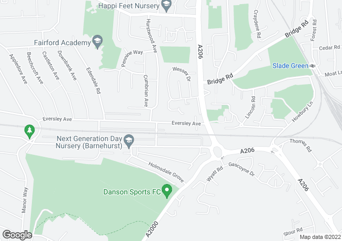 Map for Eversley Avenue, Bexleyheath