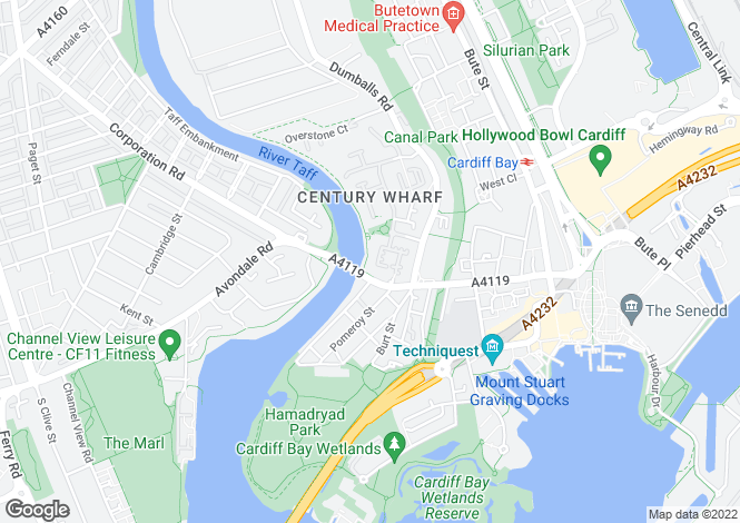 Map for Palma House, Century Wharf, Cardiff Bay.