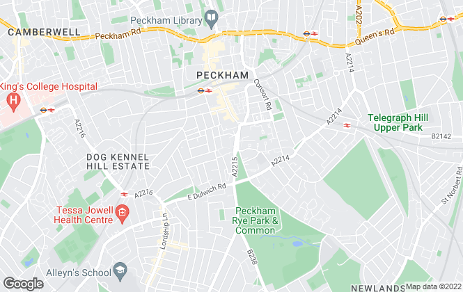 Map for Acorn, Peckham Rye
