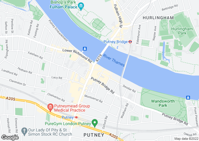 Map for Brewhouse Lane, Putney, SW15