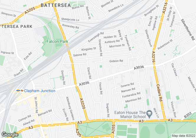 Map for Glycena Road, Battersea