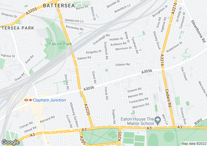 Map for Glycena Road Sw11