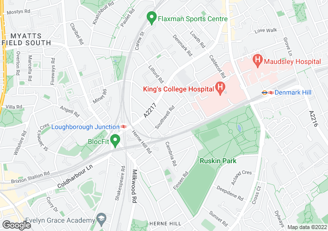 Map for Southwell Road, Camberwell, SE5