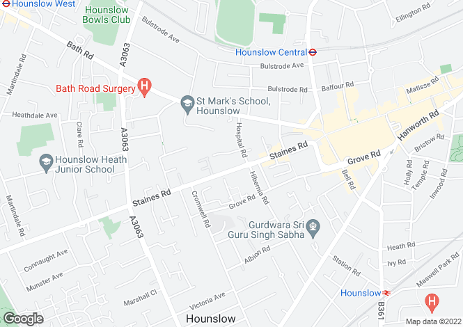 Map for Bellevue Court - Hounslow Central