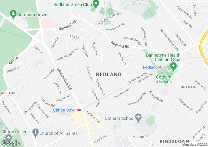 Map for Woodfield Road, Redland, Bristol