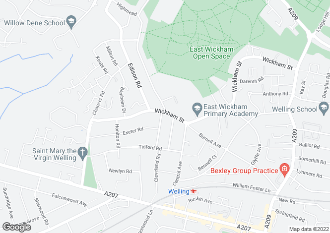 Map for Wickham Street, Welling DA16