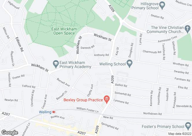 Map for Welling, Kent