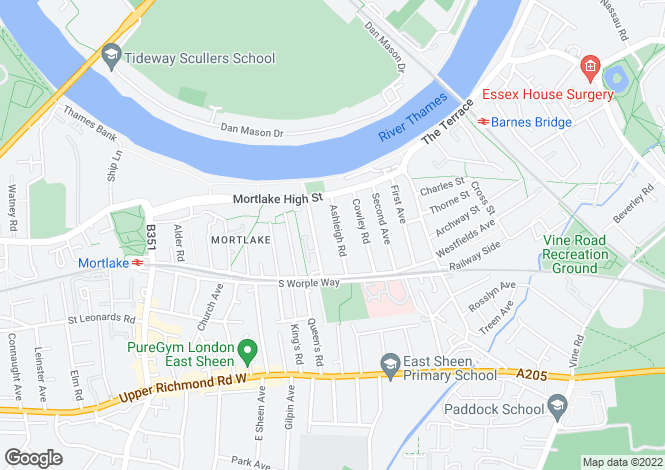 Map for Ashleigh Road, Mortlake, SW14