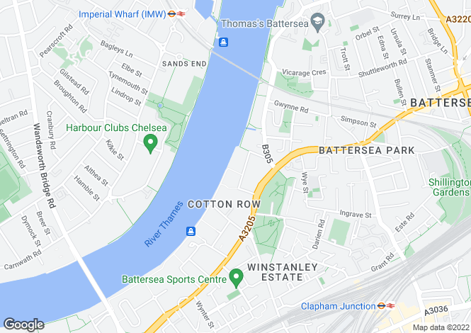 Map for Bridges Court Road, Battersea, SW11