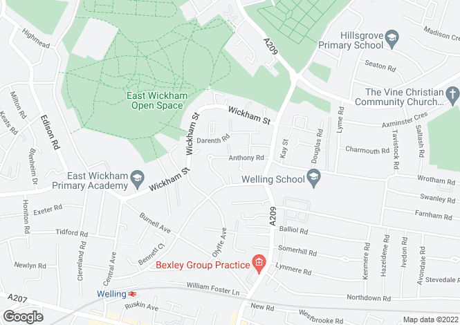Map for Anthony Road, Welling, DA16